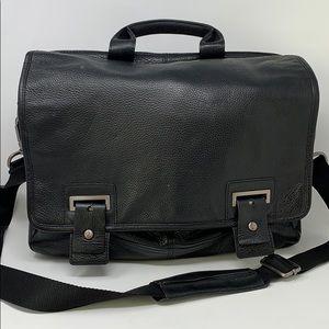 Banana Republic Black Leather Messenger Briefcase